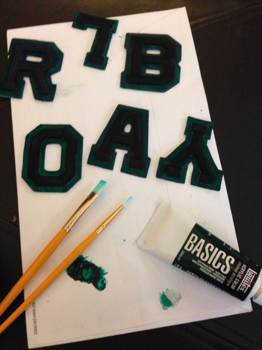 Painting the letters for my Baylor blackout shirt