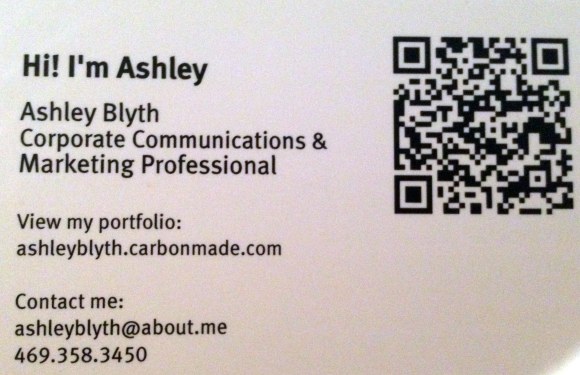 I used a QR code on my business card ... four years ago!
